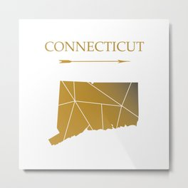 Connecticut In Gold Metal Print