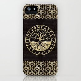 Tree of life  -Yggdrasil and  Runes on wooden texture iPhone Case