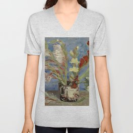 "Vincent Van Gogh ""Vase with Gladioli and Chinese Asters"" Unisex V-Neck"