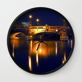 Nocturnal Lights on the river Spree in Berlin Wall Clock
