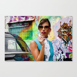Woman and graffitti Canvas Print