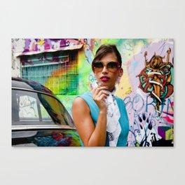 Woman and graffitti Canvas Print