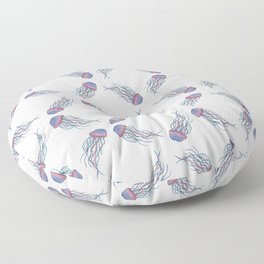 Pink and Purple Pointillism Jellyfish Floor Pillow