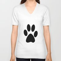 furry V-neck T-shirts featuring Furry Paw by Red Tree Arts