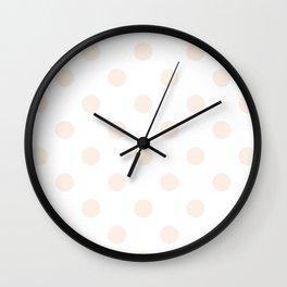 Polka Dots - Linen on White Wall Clock