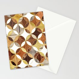 Wood and Gold Geometric Stationery Cards