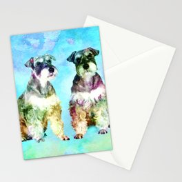 Miniature Schnauzer dogs Watercolor Digital Art Stationery Cards