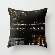 Chicago El and River at Night Throw Pillow