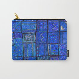 V2 Calm Blue Traditional Moroccan Cloth Texture. Carry-All Pouch