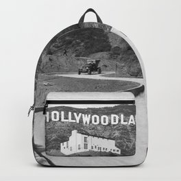 Old Hollywood sign Hollywoodland black and white photograph Backpack