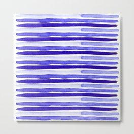 Bue Watercolour Stripes Metal Print