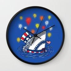 The Patriotic Shark Wall Clock