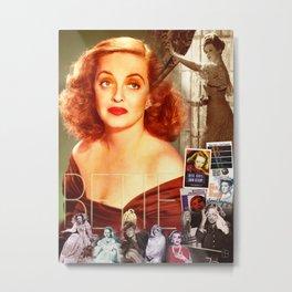 Bette Davis Collage Portrait Metal Print