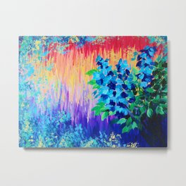 SHADES OF BEAUTIFUL - Stunning Bright BOLD Rainbow Ombre Pattern Blue Floral Hyacinth Nature Autumn Metal Print