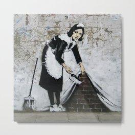 Bansky Maid Metal Print