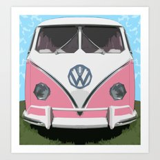 VW Kombi Love van Art Print