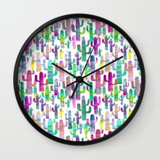 Watercolor Cacti - Pinks - Saguaros Wall Clock