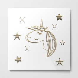Magical Gold Unicorn Metal Print