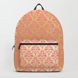 Modern vintage pink faux gold floral damask Backpack