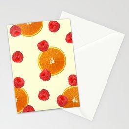 Orange Raspberry pattern - yellow Stationery Cards