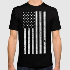 Dirty Vintage Black and White American Flag Black LARGE Mens Fitted Tee