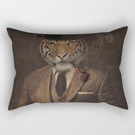 The pipe smoking Gentle Tiger Rectangular Pillow