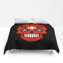 Sugar Skull with Roses and Flag of Switzerland Comforters
