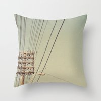 the wire Throw Pillows featuring wire by erinreidphoto