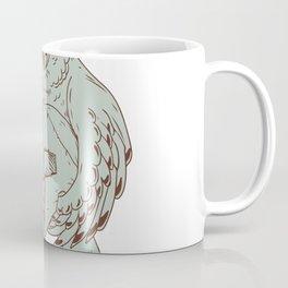 Owl Holding Spartan Helmet Drawing Coffee Mug