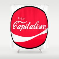 political Shower Curtains featuring Enjoy Capitalism - Funny Political Classic Cola Parody Spoof - Red Round Retro Money Loving Logo by High Design
