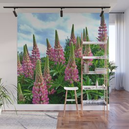 Rose Lupins in the Garden Wall Mural