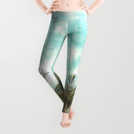 Wild and Free Vintage Palm Trees - Kaki and Turquoise Leggings