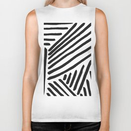 Graphic Painted Lines - black on white Biker Tank