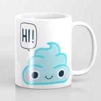 poop Mugs featuring Blue poop by Juli_Karu