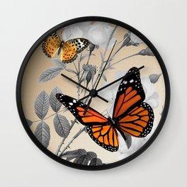 Orange Butterflies & Grayscale Flowers Wall Clock