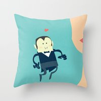 vampire diaries Throw Pillows featuring The vampire love by thinkgabriel