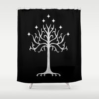 gondor Shower Curtains featuring White Tree of Gondor by A. Design