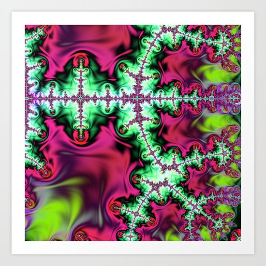 Life stream, fractal abstract art Art Print