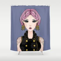 cocktail Shower Curtains featuring Cocktail by Samera Tseng