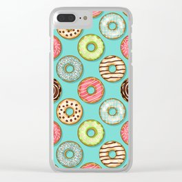 Donuts pattern Clear iPhone Case