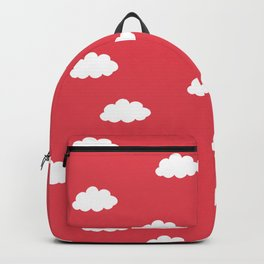 White clouds in red background Backpack