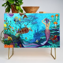 A Fish of a Different Color - Mermaid and seaturtle Credenza