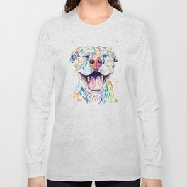 Pit Bull, Pitbull Watercolor Pet Portrait Painting - Tango Long Sleeve T-shirt