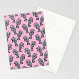 Pink Watercolor Manatee Pattern Stationery Cards