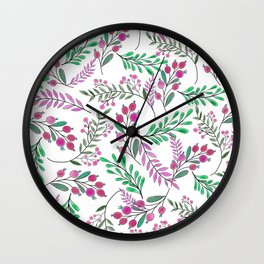 Girly pink lilac green watercolor berries foliage pattern Wall Clock