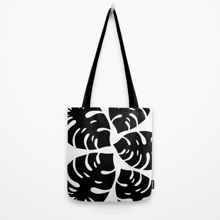 Black and White Palm Leaves Tote Bag