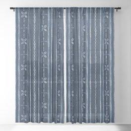 Indigo shibori floral stripes Sheer Curtain