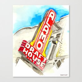 Alamo Drafthouse watercolor Canvas Print