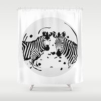 record Shower Curtains featuring Zebra Record by Studio Su