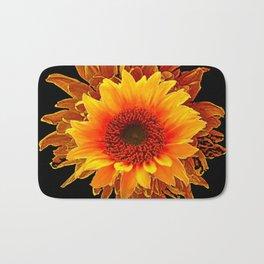 Decor Black & Brown Golden Sunflower Art Bath Mat